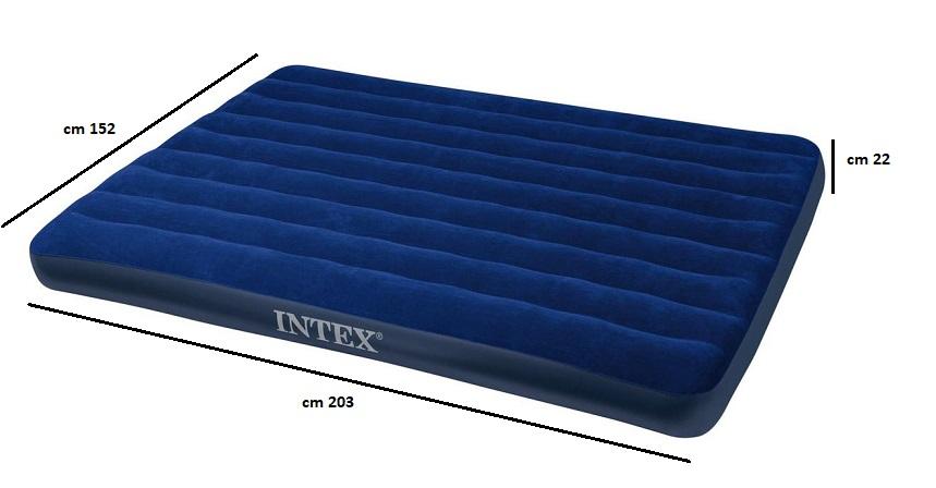 Intex materasso letto matrimoniale gonfiabile con pompa fiber tech