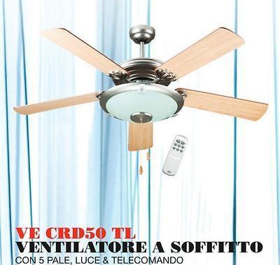 Dcg ventilatore da parete soffitto con 5 pale luce lampada - Ventilatore da parete ...
