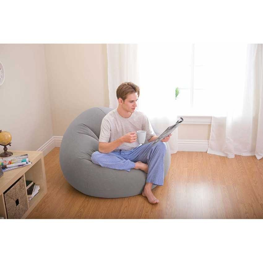 Poltrona letto gonfiabile portatile grigia for Letto gonfiabile