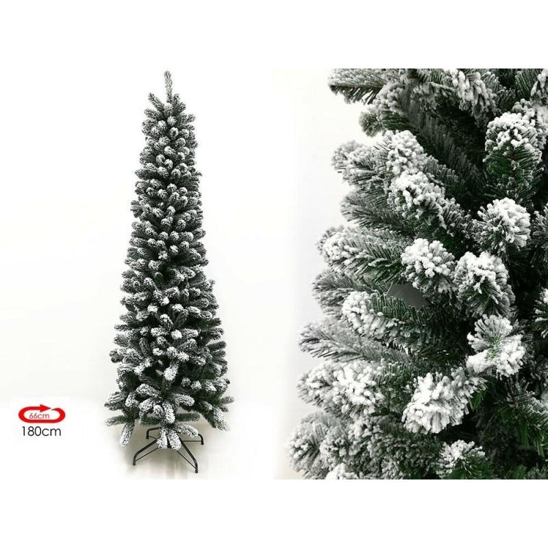 Albero di Natale artificiale innevato salvaspazio slim rotex